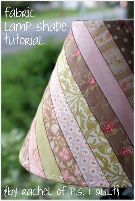Moda Bake Shop: Fabric Lamp Shade.  I would take this one step further and add a bias strip to the top and bottom covering up the stitching, or use a contrasting stitching, or add some sort of trim, lace,fringe, beads, etc.