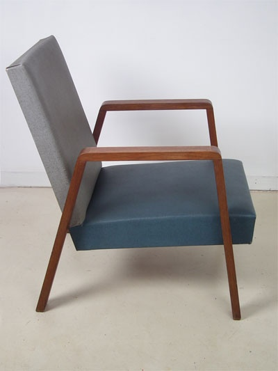 Lovely Side Chair In Wood And Beautiful Original Grey And Blue Vinyl Upholstering,  Dutch, Labeled Huizenga Utrecht Kollum.