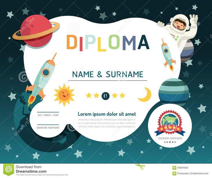Certificate Kids Diploma, Kindergarten Template Layout Space Bac Stock Vector - Image: 56564020