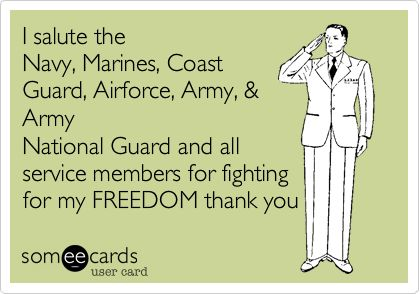 I salute the Navy, Marines, Coast Guard, Airforce, Army,  Army National Guard and all service members for fighting for my FREEDOM thank you.