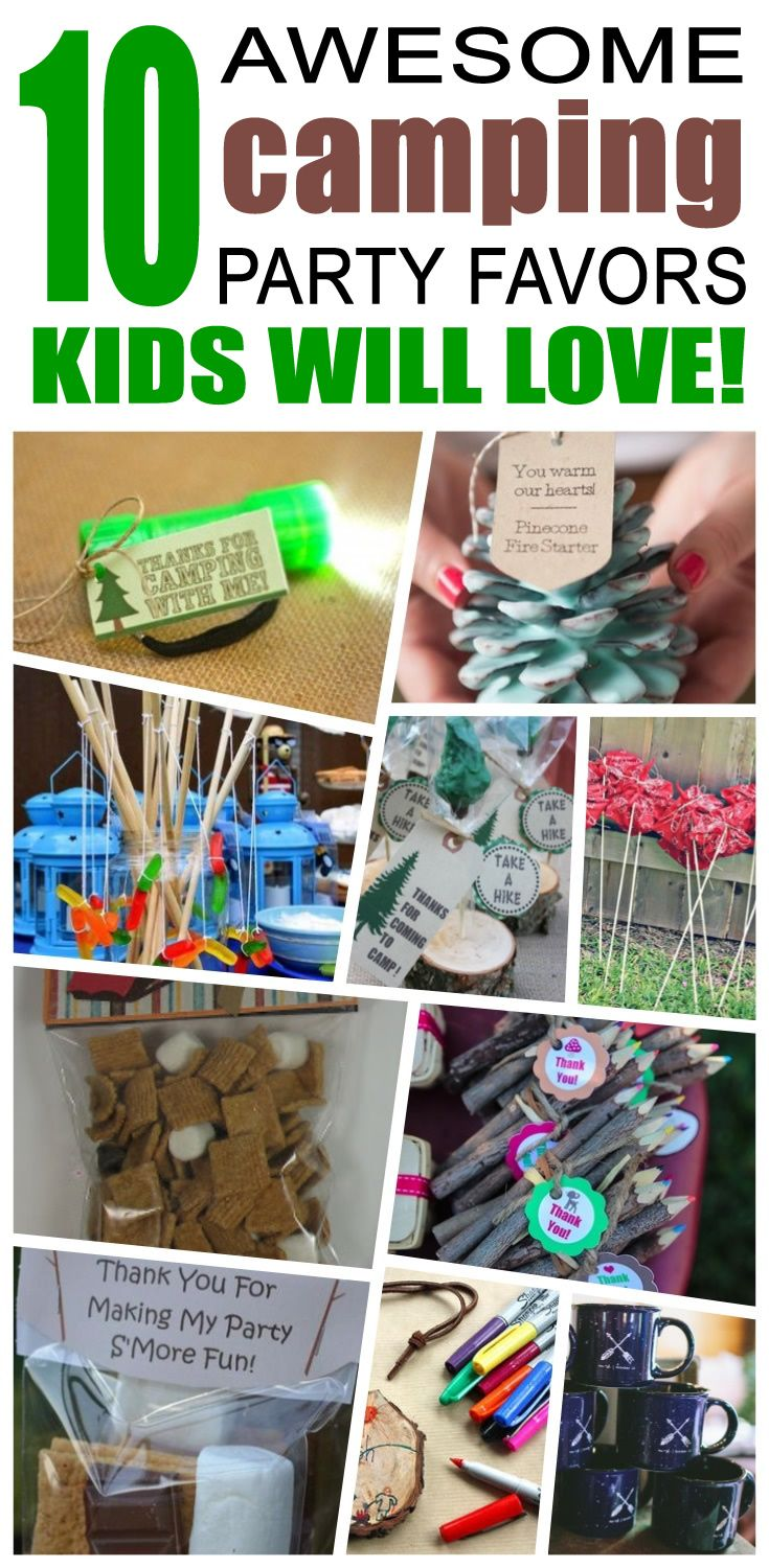 Great camping party favors kids will love. Fun and cool camping birthday party favor ideas for children. Easy goody bags, treat bags, gifts and more for boys and girls. Get the best camping birthday party favors any child would love to take home. Loot bags, loot boxes, goodie bags, candy and more for camping party celebrations.