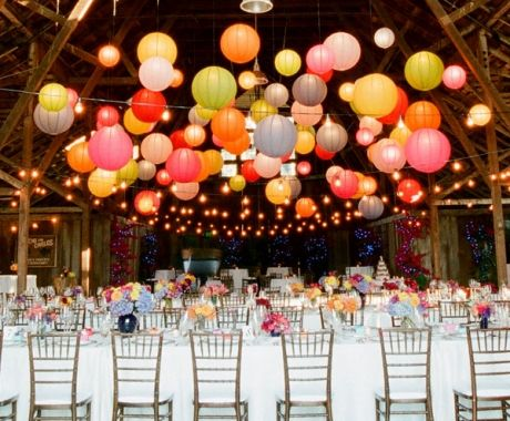 Could hang balloons from the ceiling at different levels for similar effect....pretty yet inexpensive decor