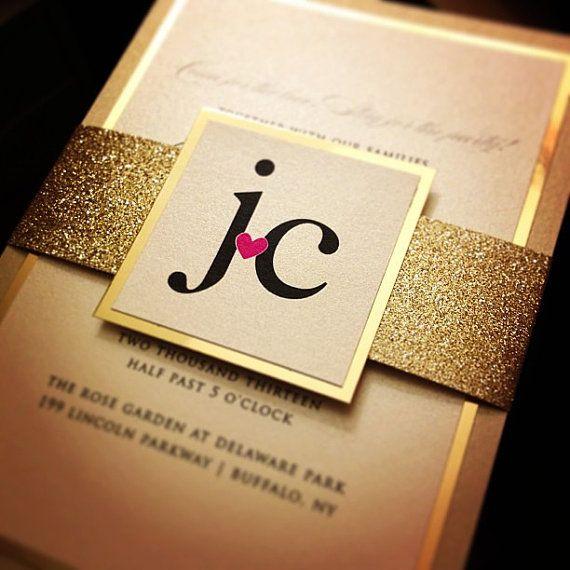 Fancy Glitter Wedding Invitations  SAMPLE by JustInviteMe on Etsy, $9.25