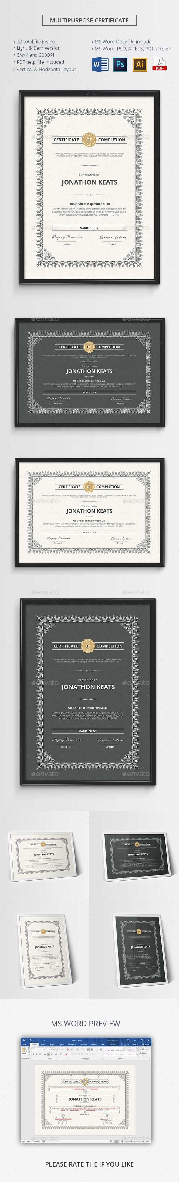 31 best psd templates certificate design images on pinterest psd multipurpose certificate template psd vector eps ai illustrator ms word download here yadclub Choice Image
