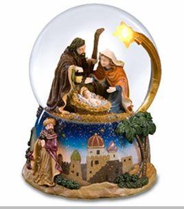Musical Snow Globes | The San Francisco Music Box Company Nativity Musical Snow Globe With ...