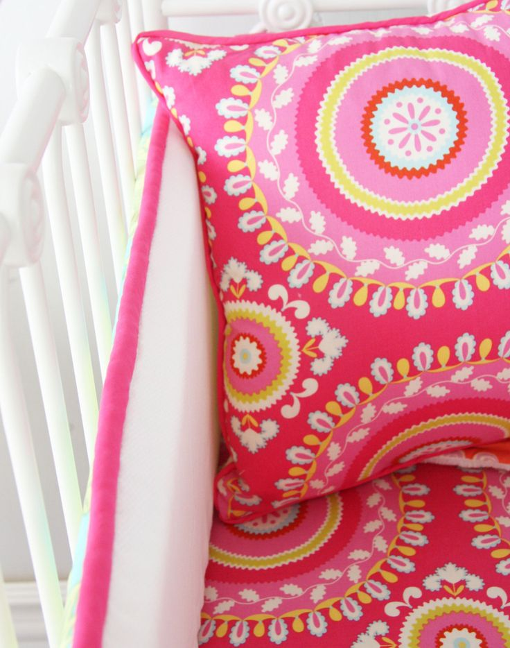 Pipers Paisley Baby Bedding pink aqua by CadenLaneBabyBedding