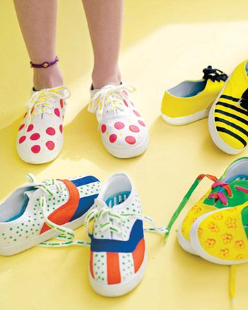 Using fabric paints and paint pens, kids can decorate canvas sneakers all by themselves with this craft idea.    Tip: Make sure they let the paint dry for 24 hours before painting another shade on top of the original color.