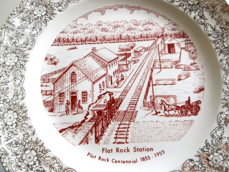 Flat Rock Station Centennial 1855 1955 Collector Plate In