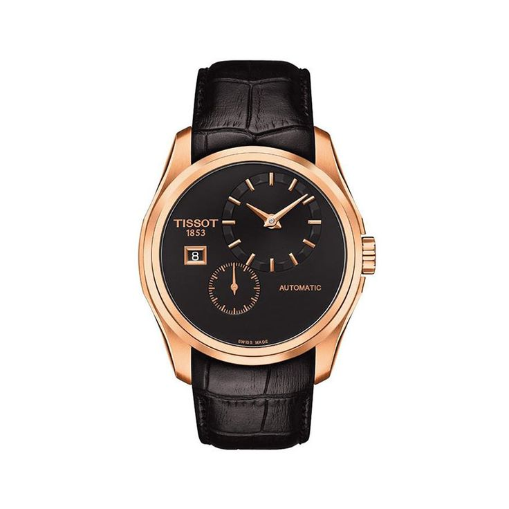Tissot Couturier Black Dial automatic movement, rose gold-tone stainless steel case with a black leather strap