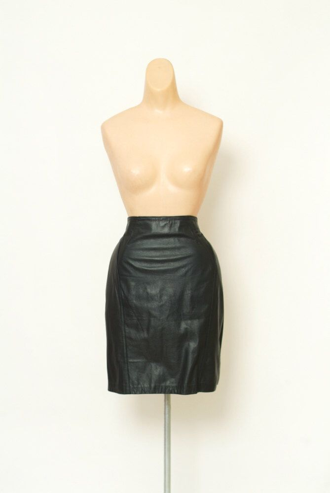 Excited to share the latest addition to my #etsy shop: Vintage Black Leather Skirt / 80s Skirt / 90s Black leather Skirt / High Waisted Midi skirt  / size 10P /Short Black Skirt
