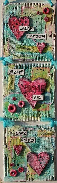mixed media art project - corrugated cardboard, spray inks, paint, clay, burlap, crinoline