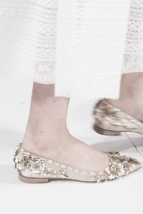 Slippers with sequin flower details at Oscar de la Renta | Spring 2014