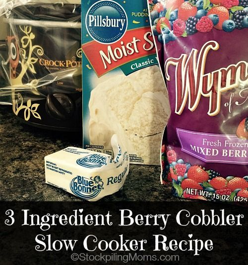3 Ingredient Berry Cobbler Slow Cooker Recipe is a great dessert recipe for summer! It's so easy to make that you can put everything in the crockpot in under 5 minutes.