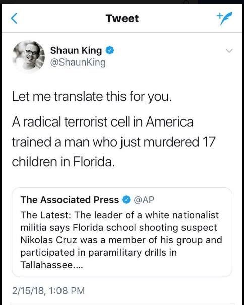 A radical terrorist cell in America trained a man who just murdered 17 children in Florida.