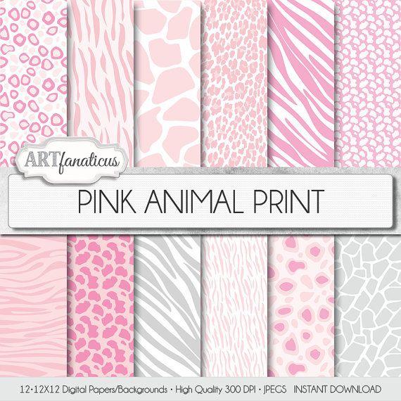 ANIMAL PRINTS 12x12 digital paper pink and white background, animal pattern, hot pink, leopard, gray, cheetah, giraffe, and zebra prints
