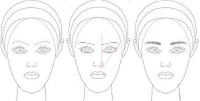For a long face, you want to shorten it and make it a little more centred. This is best done with a flat brow that has a low arch and a short tail.