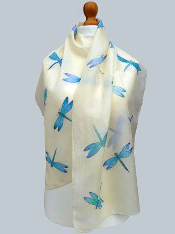 Hand painted large dragonflies scarf