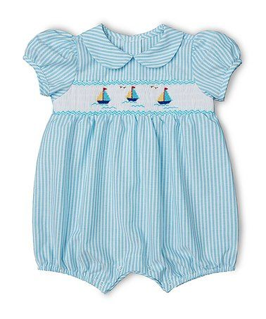 ccb7fe31d31e Another great find on  zulily! Aqua Stripe Smocked Romper - Infant ...