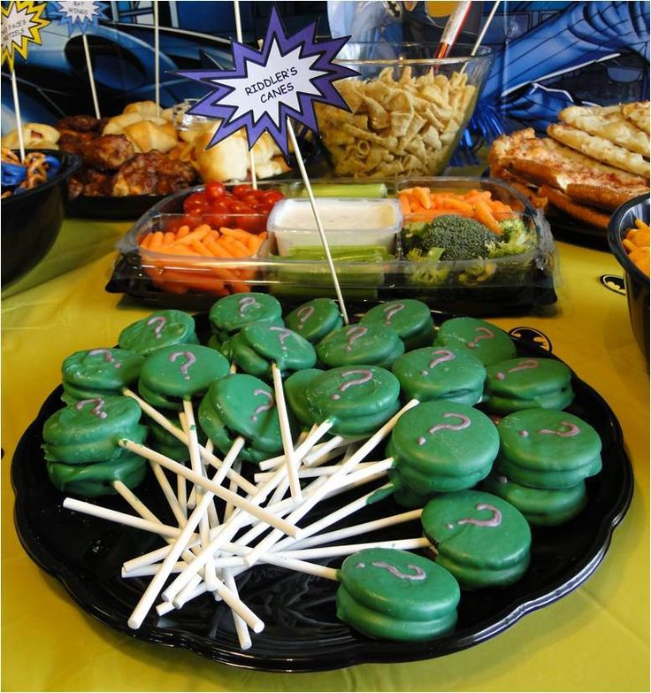 Batman Birthday Party Snack Riddler's Canes. Chocolate dipped Oreos. Party food. #inspovault