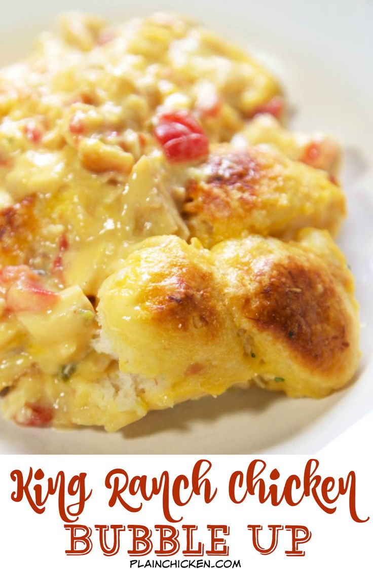 King Ranch Bubble Up Recipe - chicken, Velveeta cheese, Rotel, chicken soup tossed with chopped refrigerated biscuits and baked - use mild rotel if worried about the heat. OMG! SO easy and SO delicious! I wanted to lick my plate!