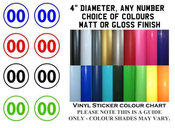 2x Body Panel Decals 4 Vinyl Number Sticker Decal