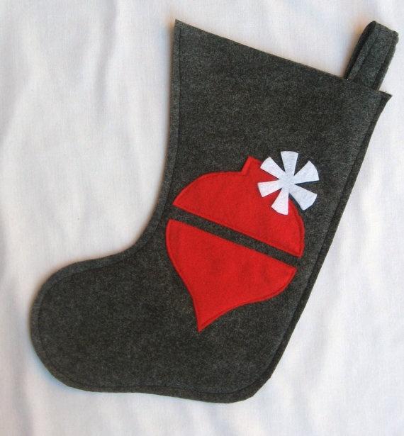 charcoal felt stocking