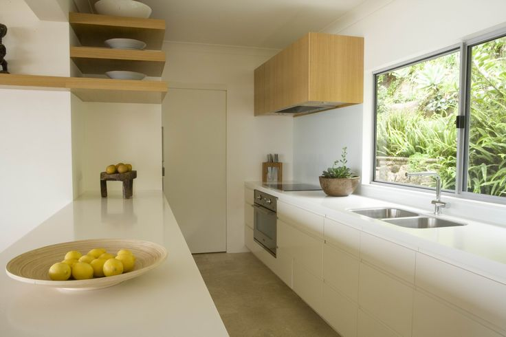 Corian Kitchen with views out to the beach. Brooke Aitken Design.