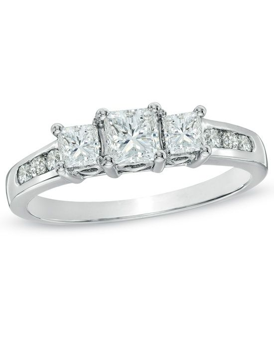 Shop For 1 CT. Princess-Cut Diamond Past Present Future® Engagement Ring in  White Gold at Gordon's Jewelers - 1 CT. Princess-Cut Diamond Past Present  ...