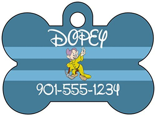 Disney Snow White and The Seven Dwarfs Pet Id Tag for Dogs and Cats Personalized w/ Your Pet's Name and Number *** For more information, visit image link. (This is an affiliate link and I receive a commission for the sales)