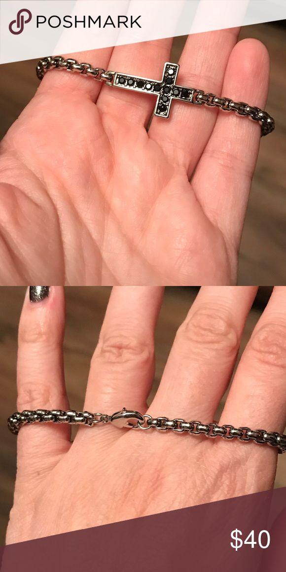 Park lane cross bracelet New never worn. Black stones. Silver tone Park Lane Jewelry Bracelets