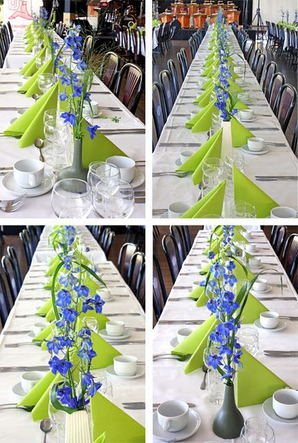 Lime green napkins with white linens. The blue flowers add an interesting pop of color!