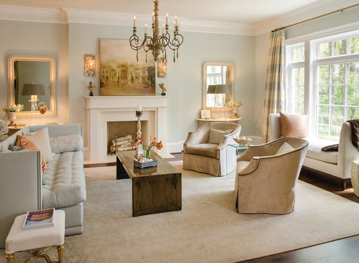 The living room showcases a john saladino sofa and a for Cottage design magazine