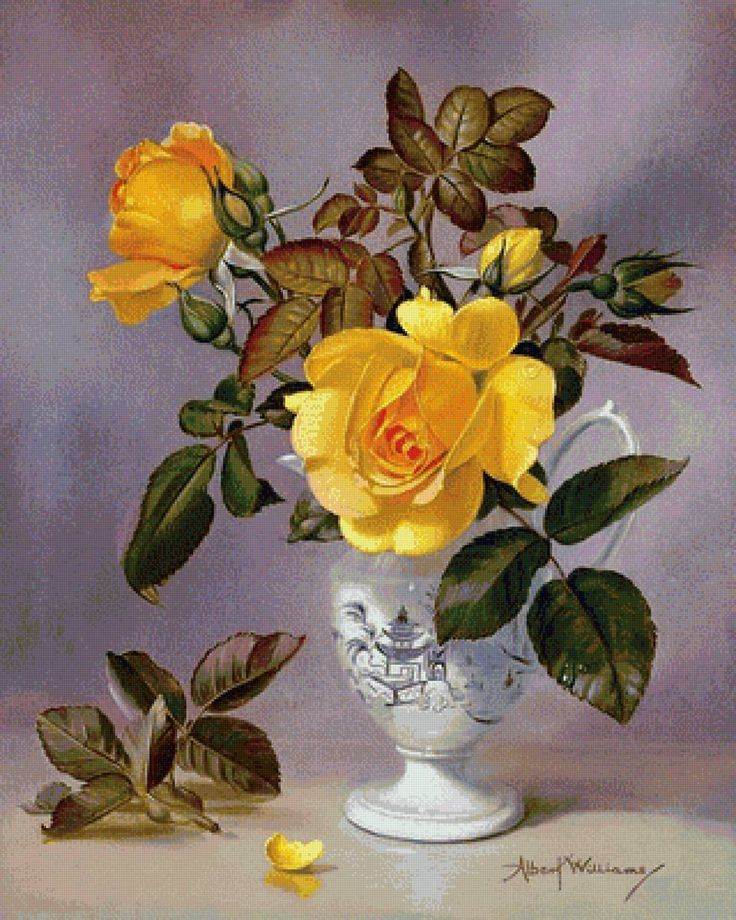 žlté ruže vo váze - Схемы вышивки - he4lin6da - Авторы - Портал «Вышивка…