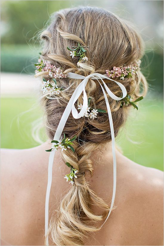 Flawless Shakespeare inspired braided wedding hair, with flowers and bows - Captured By: Alyssa Marie Photography