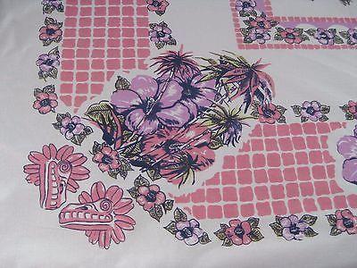 Vintage Tablecloth Novelty Pink Purple Palm Tree Tropical (52 X 48) I7195