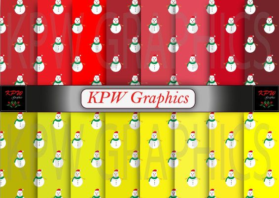 Set of 16 Christmas Snowmen on red and yellow by KPWgraphics