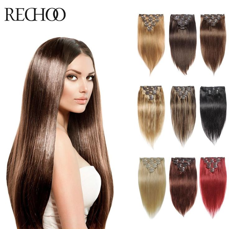 Clip In Human Hair Extensions 8 Pcs 100 200 g Clip In Hair Extensions 16 26 In Brazilian Straight Human Hair Clip In Extensions *** Details on product can be viewed by clicking the image