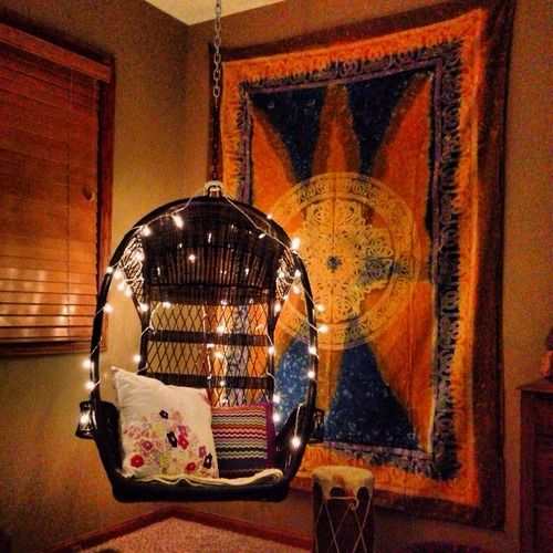 this woukd be cool instead of a rocking chair hippie room decor lights hippie bedroom boho indie tapestry chair oasis notsotypical - Indie Bedroom Decor