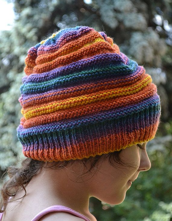 Multicolor  orangebluepurplegreenyellow  beani cap  by DosiakStyle
