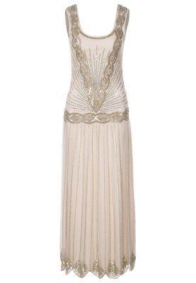 ZELDA - Robe longue - beige  Ideal pour deuxieme tenue de mariée thème année folle