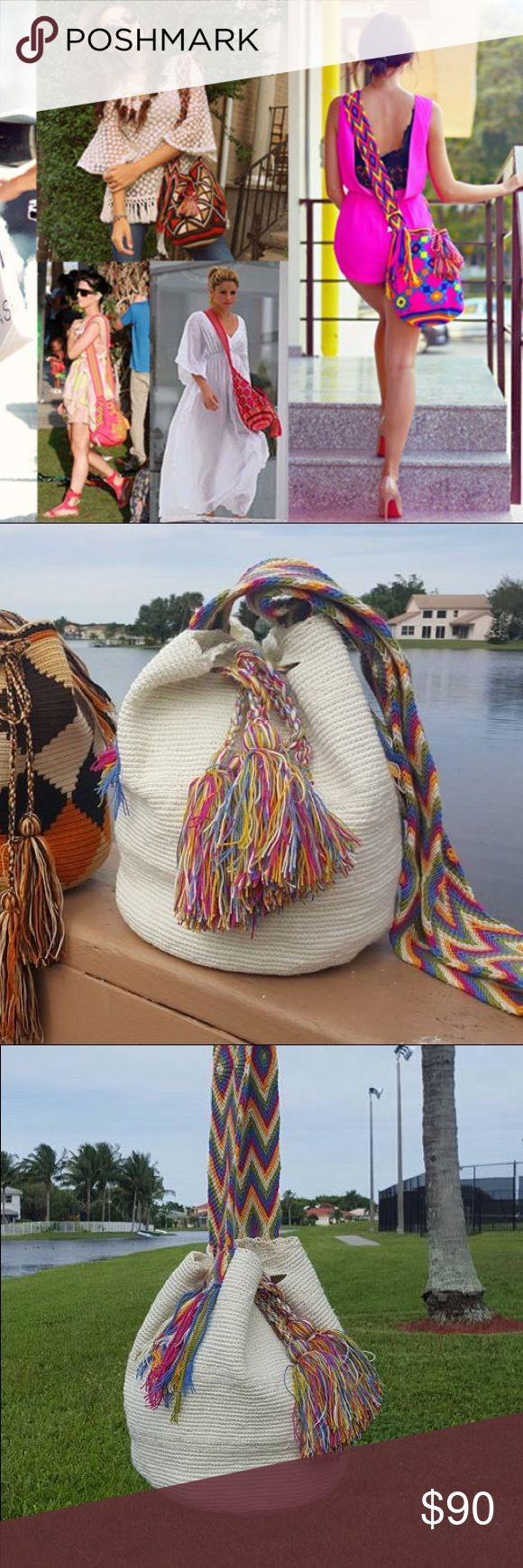 Cream gorgeous ️handmade wayuu bag BlACK FRIDAY SALE   Authentic new luxury mochila bag. ️handmade by Indian wayuu community of Colombia. Each bag is one of a kind and made with absolute skills and dedication. Each bag take around 20 days to make. Shakira, Katie perry and Monaco princes use wayuu bags Bags Shoulder Bags