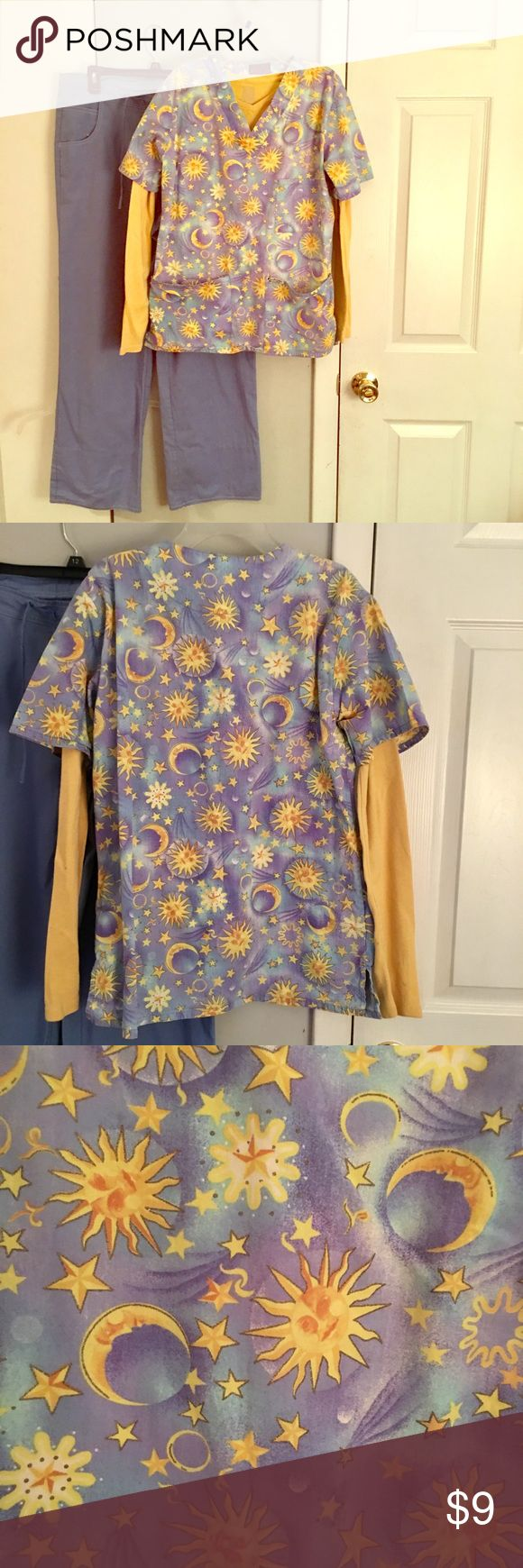 Adorable scrub top with matching long sleeve T. Sm Size small adorable sun and moon short sleeve scrub top with long sleeve yellow shirt tee shirt . Both size small and selling both together for one price. EUC 🌝 scrub bottoms Sean with are sold separately I am selling a number of each scrub tops lab scrub coats scrub bottoms and coordinating long sleeve and short sleeve T-shirts.get an automatic 20% off discount with purchases of three or more listings😀🌝 shirt is by Cherokee and scrub top…