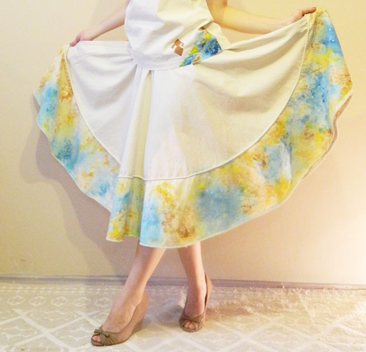 Natural fabric Full circle skirt Hand painting