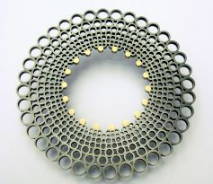Spiro Brooch. Oxidised silver with 18ct yellow gold. £970