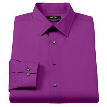 Apt 9 Slim Fit Stretch Spread Collar Dress Shirt Men