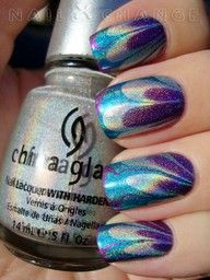 holo water marbled nails: Nails Art, Nails Design, Nailart, China Glaze, Nailpolish, Colors, Watermarbl, Nails Polish, Water Marbles Nails
