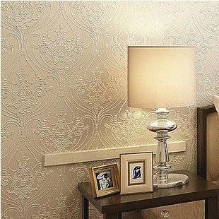 Modern victorian damask flock velvet textured wall paper for Wallpaper home decor