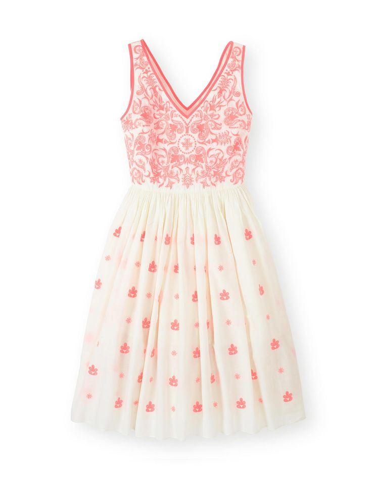Boden Pretty Embroidered Dress in pink.