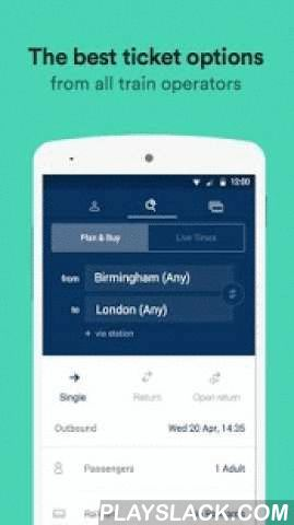 Trainline – Times & Tickets  Android App - playslack.com ,  Trainline is the #1 downloaded train app in the UK. Join over 6.5 million people and get the most up-to-date rail information.We are all about making rail travel easy: • Plan your next journey. Trainline work with all train operators in the UK.• Review all journey options available and pick the best one for you.• Save your railcard to get the right fares.• Book your next trip in seconds.• Check live departure and arrival times.•…