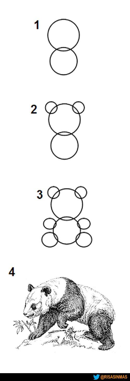 Facilísimo. Cómo se dibuja un oso panda en cuatro pasos.
